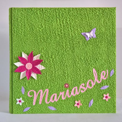 photo flowers and butterflies green album name canvas