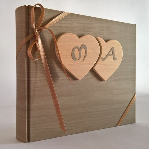 Photo album wood wooden hearts,initial