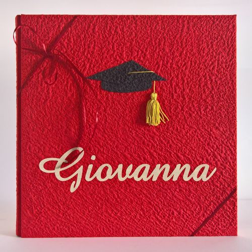 Graduation photo album with touch- name on canvas