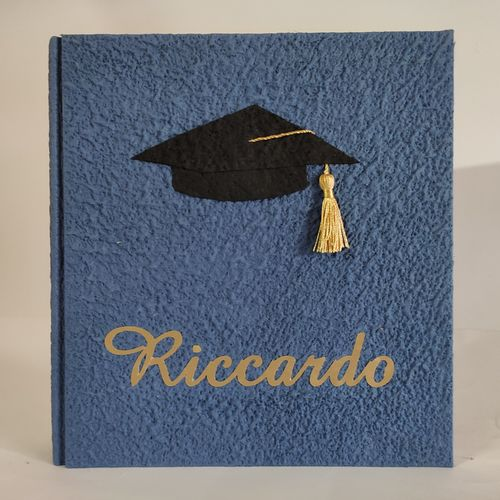 BLUE graduation photoalbum with touch & gold name