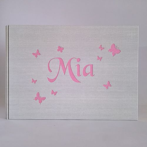 Linen photo album with butterflies and name