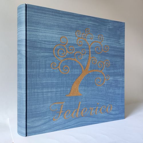 Wood photo album tree of life and engraved name