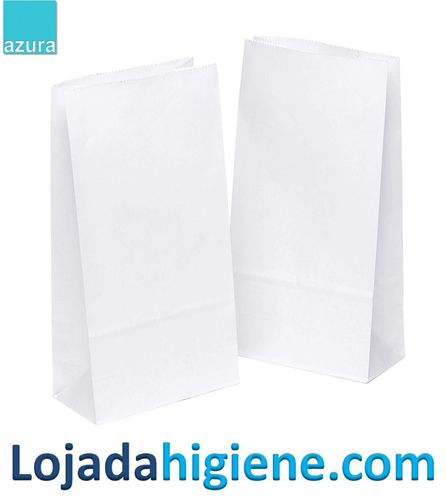 1000 bolsas papel blanco SB08 200x50x320 mm