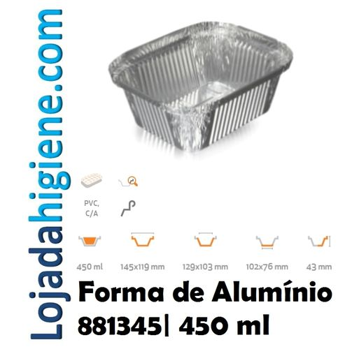 100 Forma aluminio rectangular 450 ml