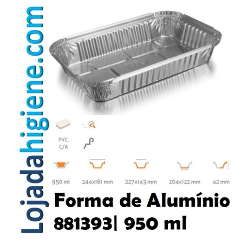 100 Forma aluminio rectangular 950 ml