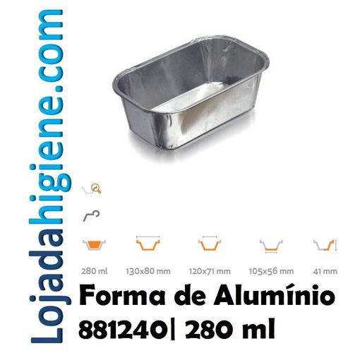 100 Forma aluminio rectangular 280 ml