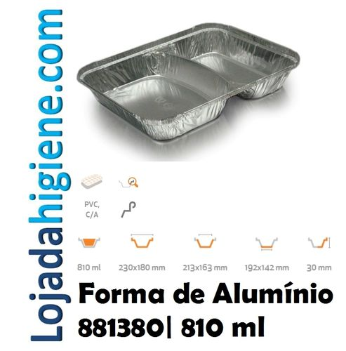 750 Formas aluminio rectangular 810 ml