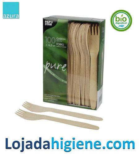 """100 Tenedores, madera """"pure"""" 16,5 cm Biodegradable y compostable"""