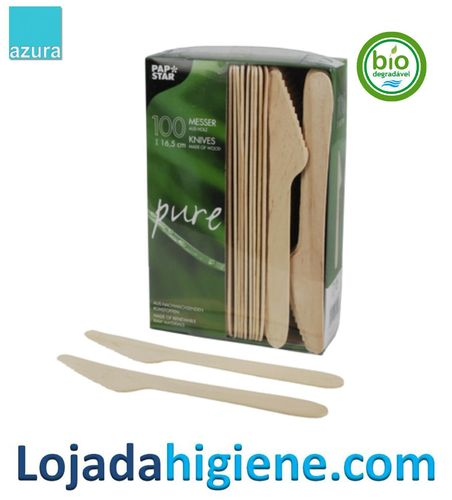 """100 Cuchillos, madera """"pure"""" 16,5 cm Biodegradable y compostable"""