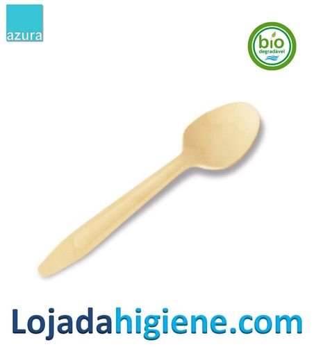 100 Cucharas ECO madera 14 cm Biodegradable y compostable