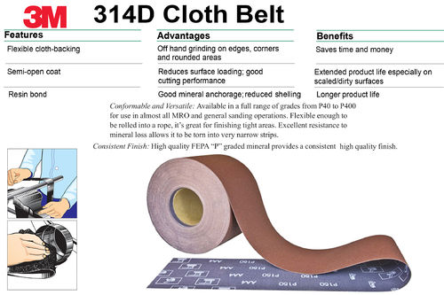 3M 314D Utility Cloth Roll 115mm x 1Mt