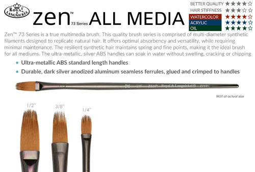 Royal ZEN All Media Filbert Comb Brush