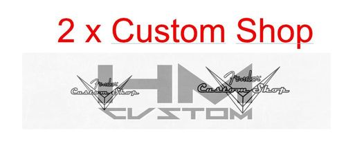 2 x Clear and Black Custom Shop Waterslide Logo Decal ( 1xS 1xL )