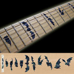 Fret Markers Inlay Sticker Decal Guitar & Bass Neck - Black MOP Bat Wings